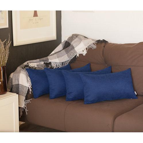 Honey Navy Blue Decorative Lumbar Throw Pillow Cover (Set of 4)