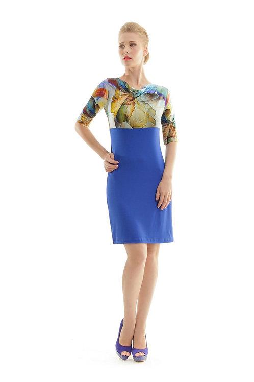 Cowl Neck Print Detail Dress