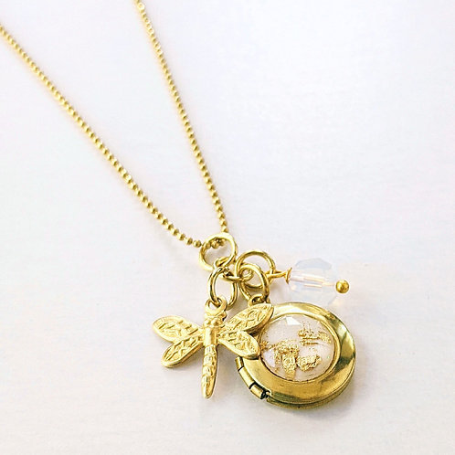 DRAGONFLY CHARM & WHITE GOLD FLAKES LOCKET NECKLACE