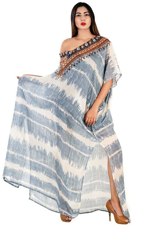 Alluring Tie-Dye Printed Silk Kaftan Resort Wear Beach Cover Up Evening Maxi