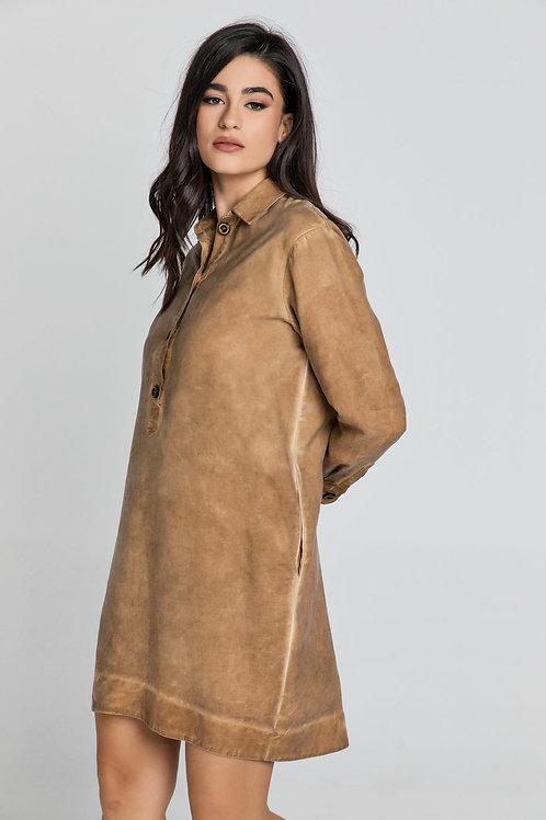 Tencel Taupe Shirt Dress