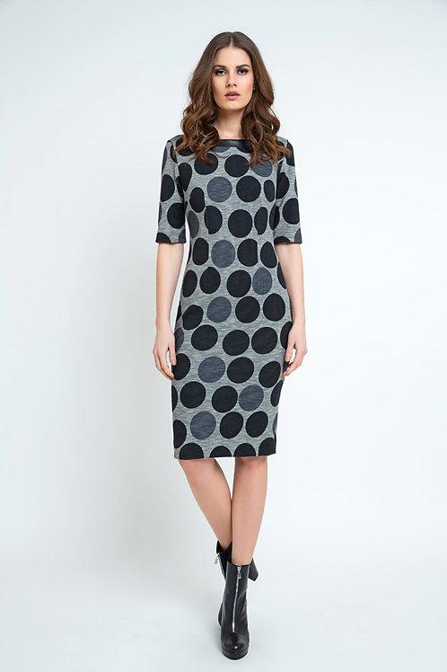 Fitted Polka Dot Midi Dress