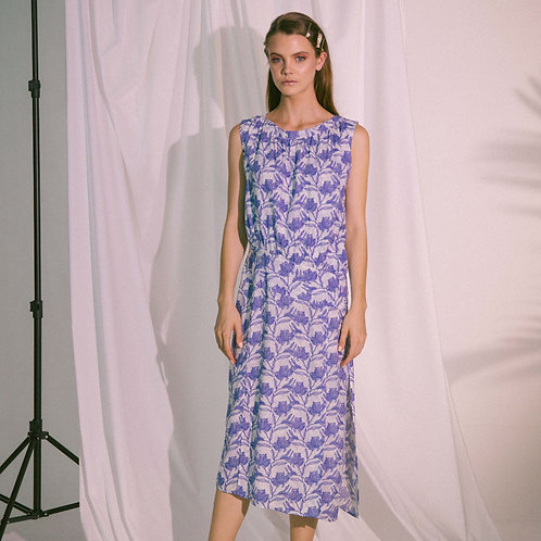 Agape Midi Dress in Blue Biro