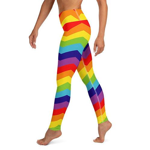 Colorful Rainbow Chevron Yoga Leggings