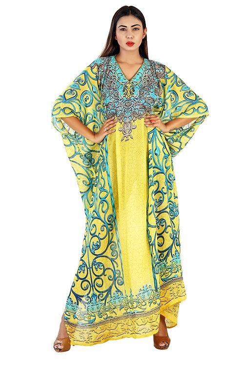 Art on the Fabric Marakeh Printed Silk Kaftan Styled for Curvy Women Beach Wear