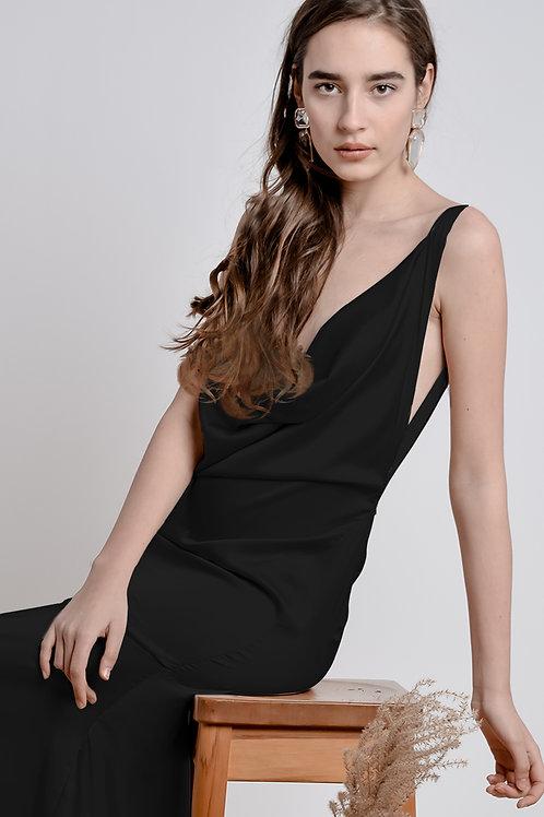 Black Bareback Dress - Bastet Noir