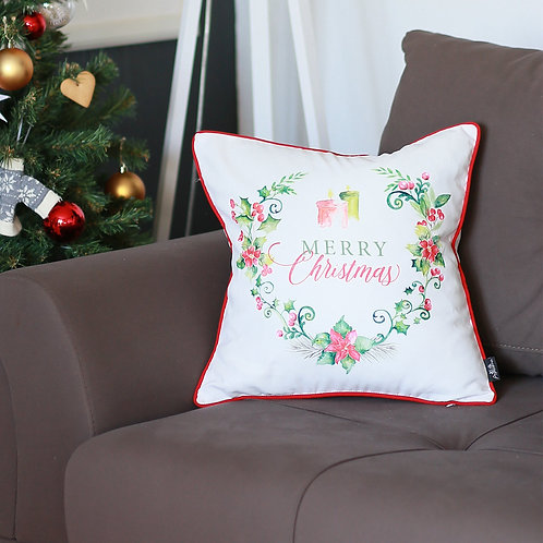 "Christmas Flowers Square 18"" Throw Pillow Cover"