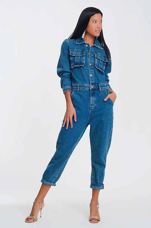 Button Front Jumpsuit in Washed Denim
