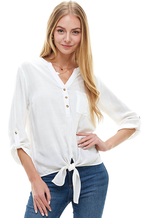 Roll Up Sleeves Front Popover Shirts