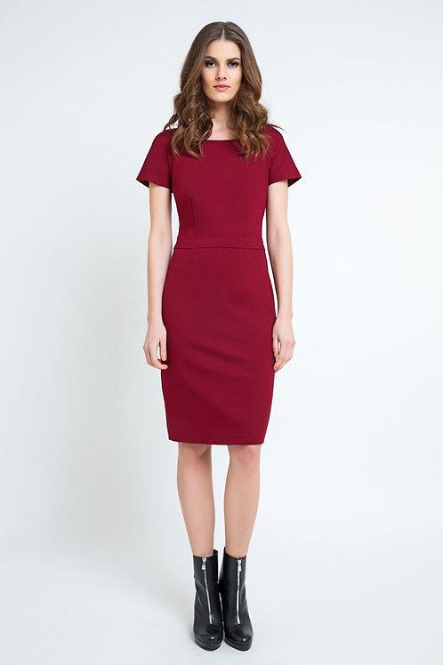 Burgundy Fitted Cap Sleeve Dress