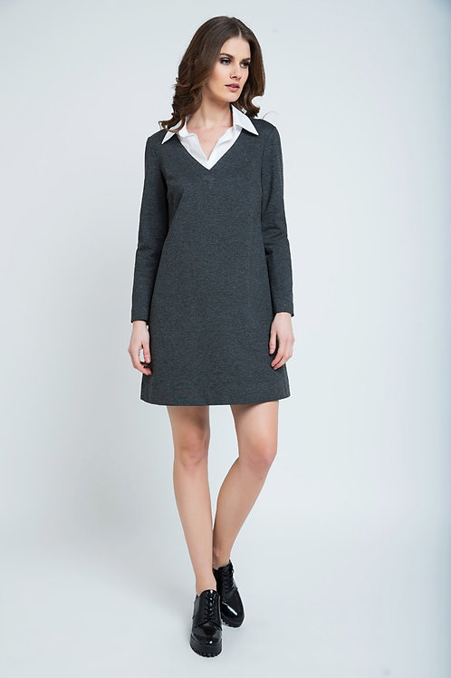Dress With Shirt Style Collar