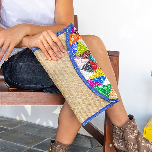Hand woven Clutch Bag With Embroidery Triangles