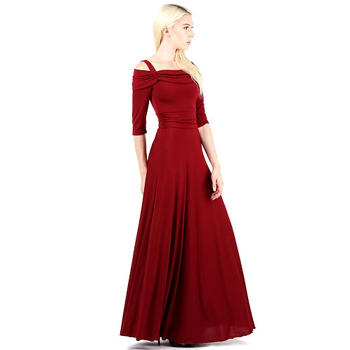 Evanese Women's Slip on Formal Long Eveing Party Dress Gown With 3/4 Sleeves