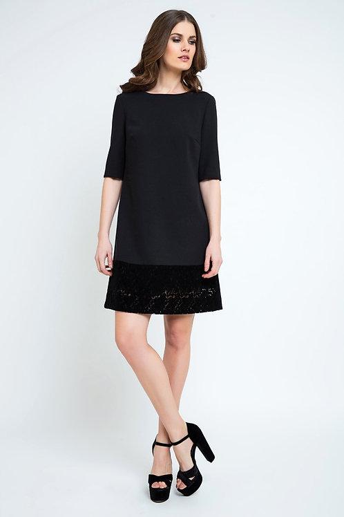 Black a Line Dress With Lace Detail