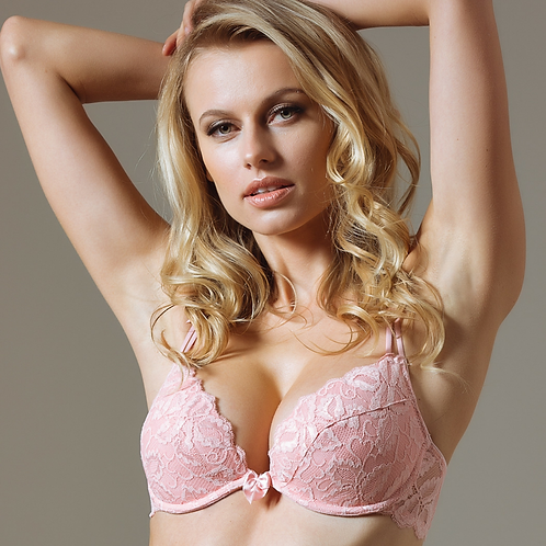 Lace Deep Plunge Push-up Bra Lavinia Dare Me Powder Pink