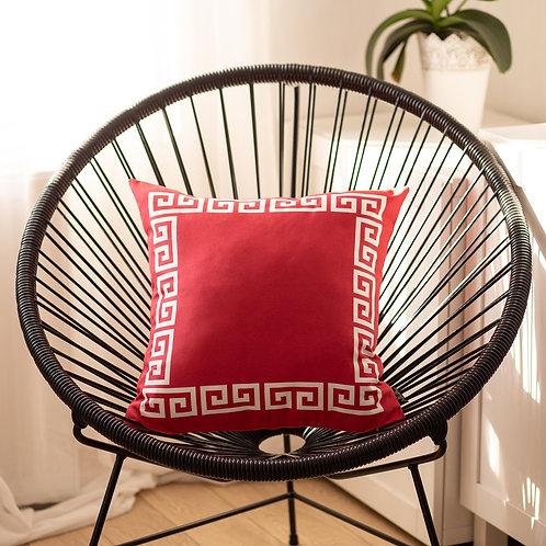 Geometric Greek Key Red&White Square Throw Pillow Cover
