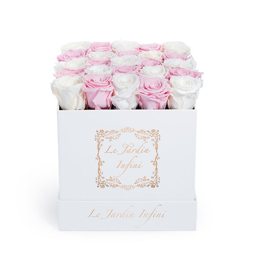 Checker White & Soft Pink Preserved Roses - Medium Square White Box