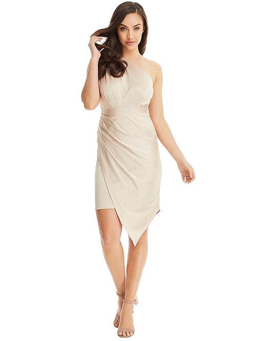 One Shoulder Asymmetrical Dress - Gold