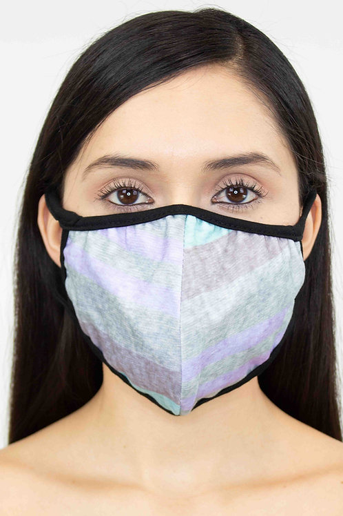 Striped Print Face Mask - Blue