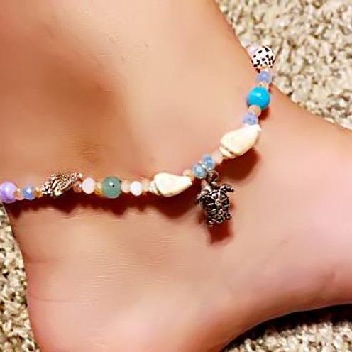 Multi Sea Glass and Shell Mix Anklet Ankle Bracelet - Turtle