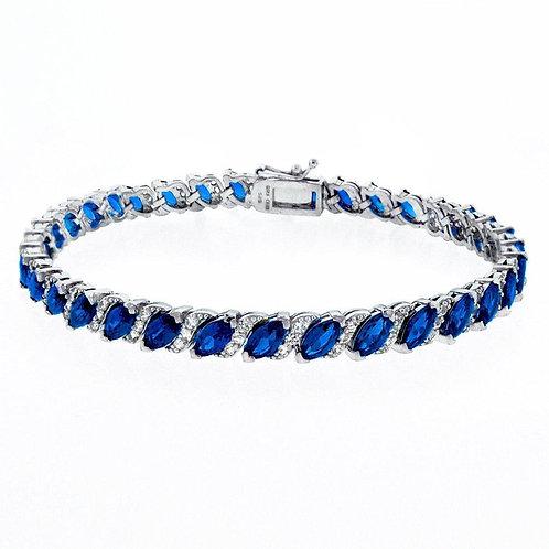 20.00 CT Genuine Sapphire Vine Bracelet Embellished with Swarovski