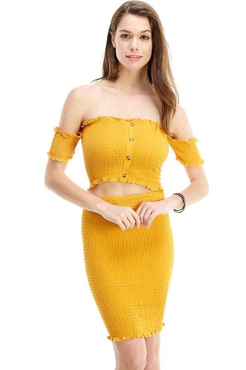 Solid Corp Top Skirt Dress Set