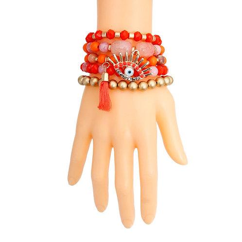Coral and Matte Gold Evil Eye Bracelets