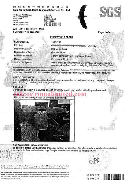 Urea 46% SGS report