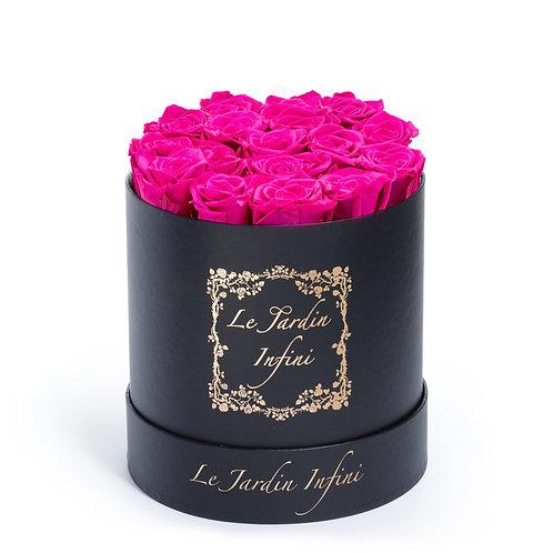 Hot Pink Preserved Roses - Medium Round Black Box