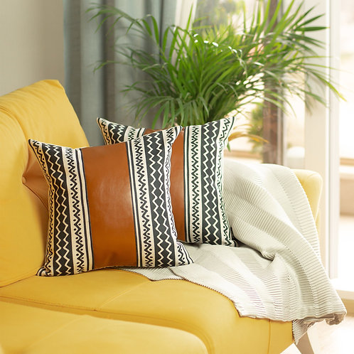 """Decorative Brown Vegan Faux Leather Square 17"""" Throw Pillow Cover (Set"""