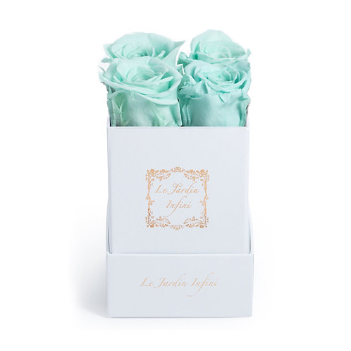 Baby Blue Preserved Roses - Small Square White Box
