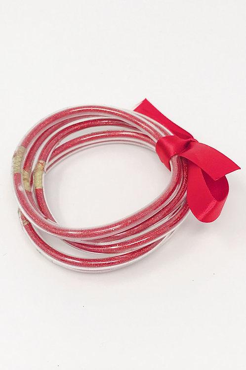 Metallic Tube Bracelet, Red