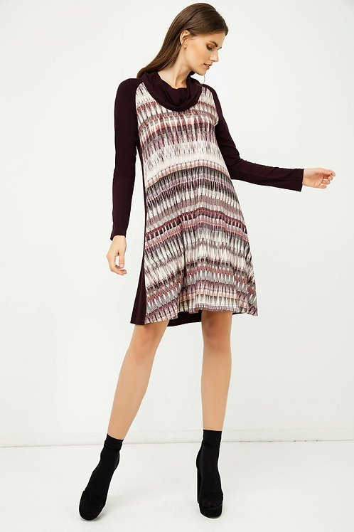 A Line Print Dress With Turtle Neck