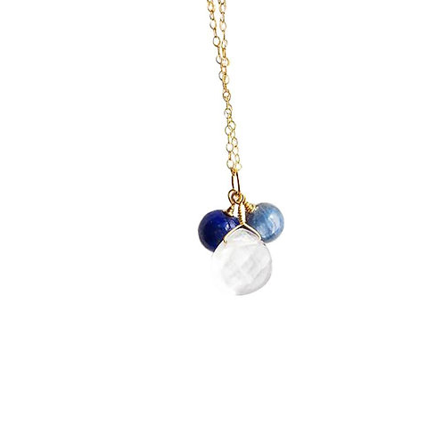 Crystal Quartz, Kyanite and Lapis Lazuli Gold Filled Necklace