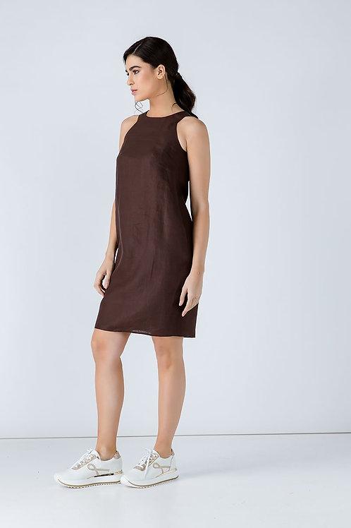 Brown Sleeveless Sack Dress