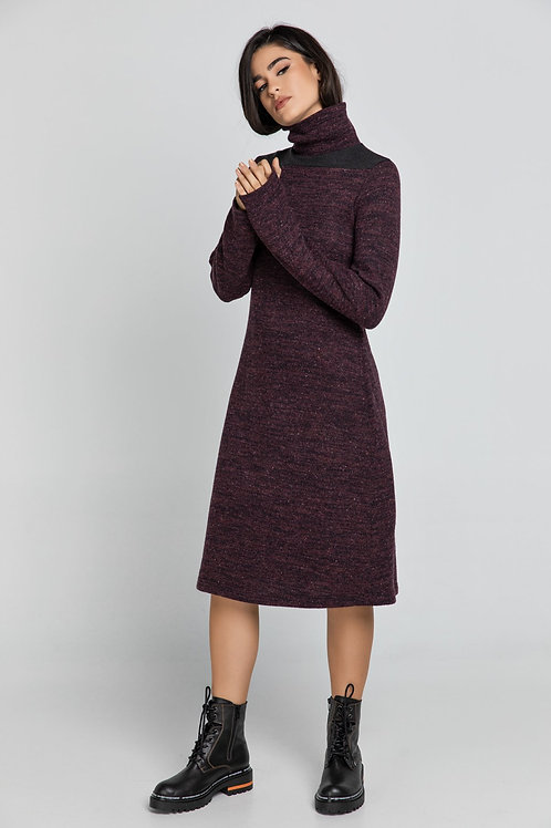 Aubergine Turtle Neck Dress Conquista Fashion