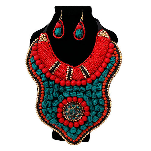 Multi Color Bead and Stone Raised Collar Bib Necklace Set