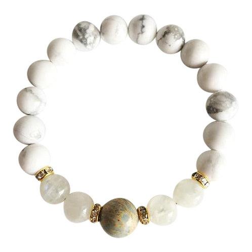 Aqua Terra Jasper, Moonstone and White Howlite Gold Plated Bracelet