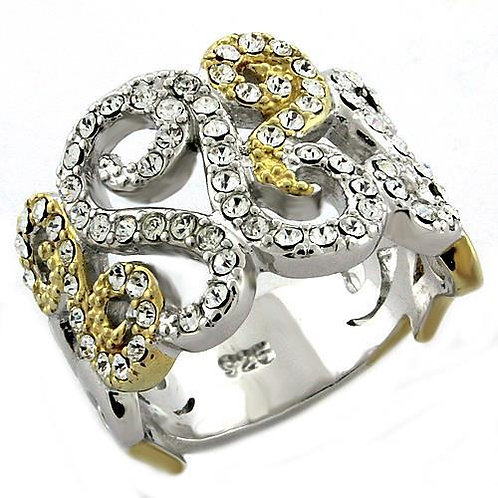LOAS1019 Gold+Rhodium 925 Sterling Silver Ring