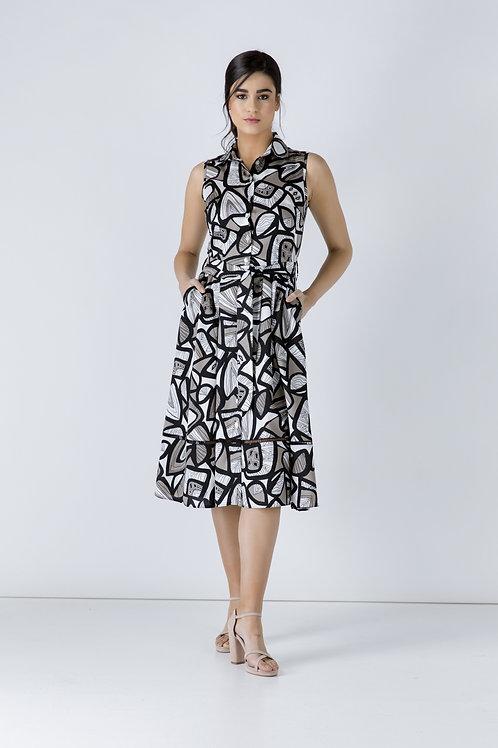 Black Print Dress With Belt