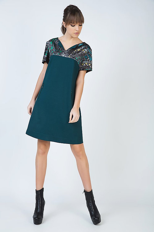 Short Sleeve a Line Dress With Print Detail