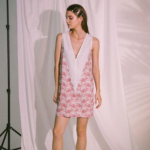V-Neck Two Tone Beach Dress Short Rose