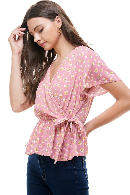 Ditsy floral surplice flutter sleeves peplum blouse top