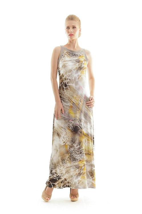 Abstract Animal Print Maxi Dress