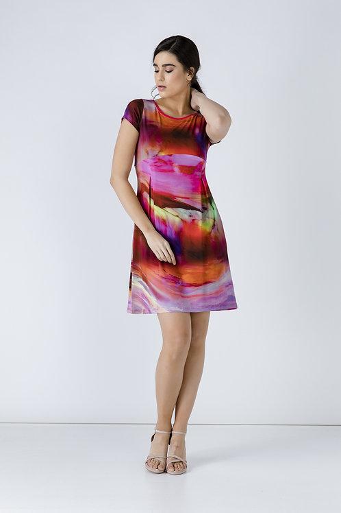 Pleat Detail Print Dress