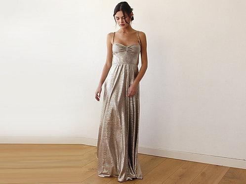 Dark Gold Metallic Ballerina Maxi Dress 1064