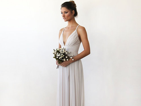 Chiffon meshMaxi Wrap With Thin Straps - Ivory Maxi Dress With Adjustable Stra
