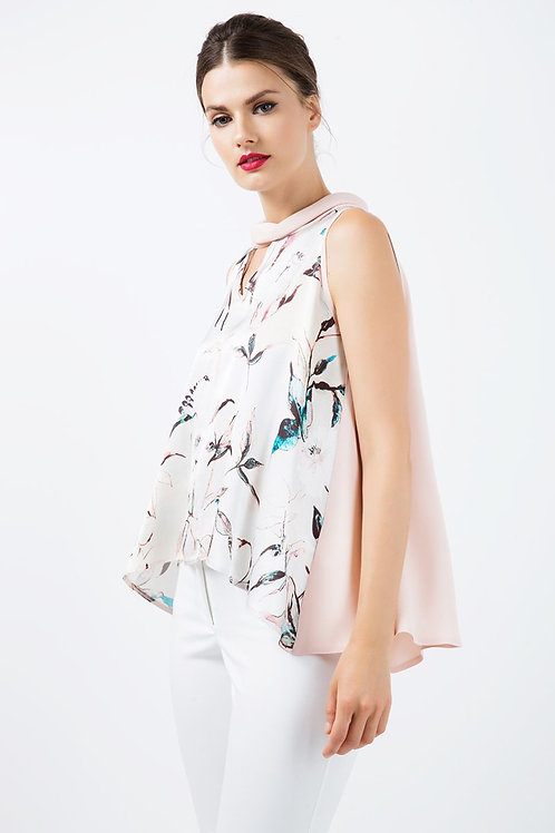 Sleeveless Print Satin Top