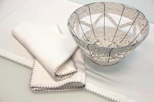 100% European Flax Linen Napkins With Merrow Edge Stitching (Set of 4)