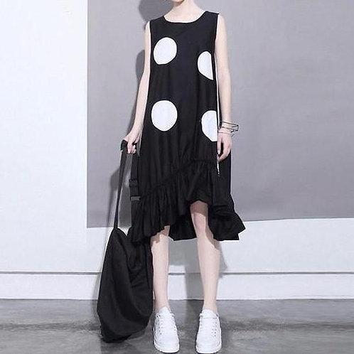 Atla Domino Ruffle Dress - Black